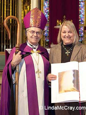 Bishop George Leo Thomas and liturgical artist Linda McCray
